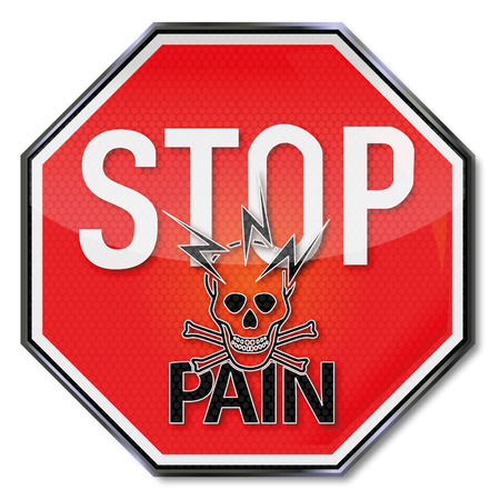 unbearable: Stop sign with pain, lightning and skull Illustration