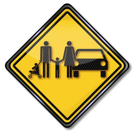 family policy: Sign family and a family car