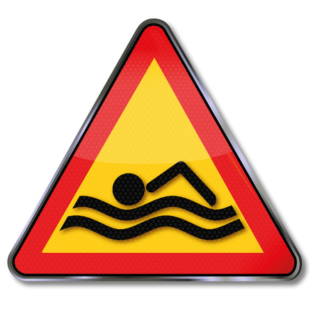 no swimming: Sign float and swimming in the river