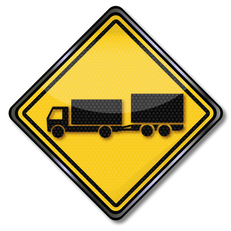 slowdown: Sign with truck and trailer biaxial