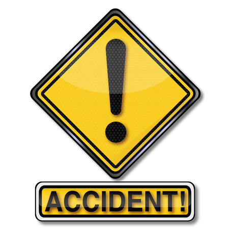 unforeseen: Sign with call sign and accident Illustration