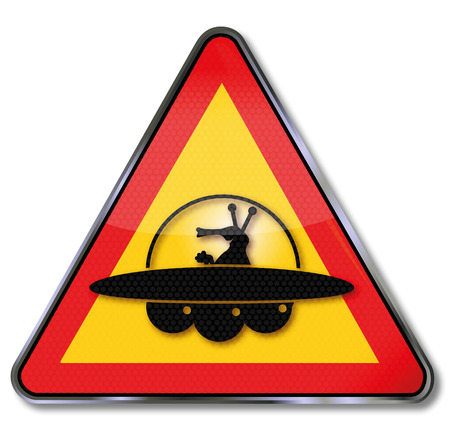 notion: Sign attention martians and ufo Illustration