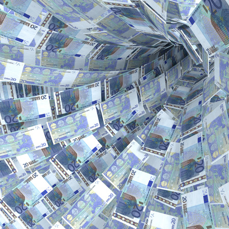 Money vortex of 20 euro bills
