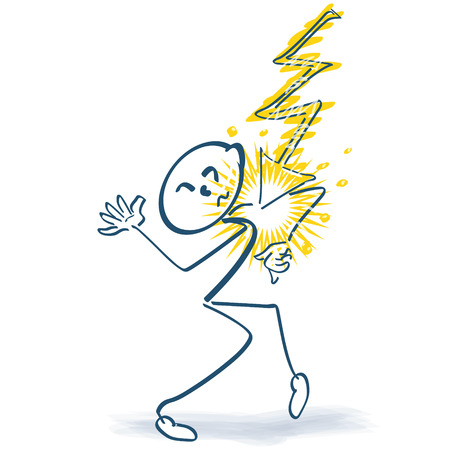 cramping: Stick figure with sudden flash and pain