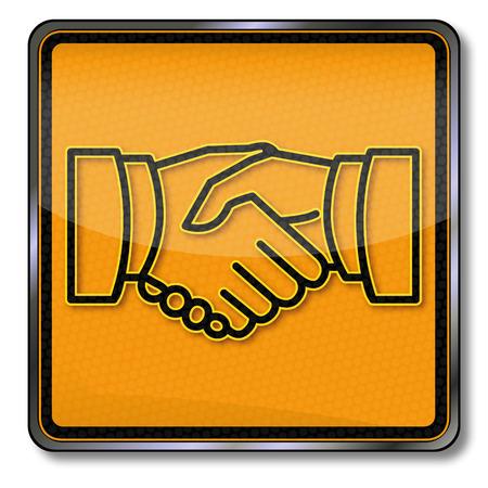 manos logo: Regístrate dar la mano y la amistad Vectores