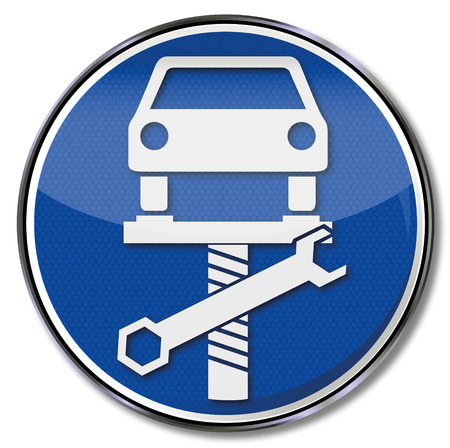 vehicle breakdown: Sign with car on lift