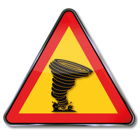 diameter: Sign with hurricane Illustration