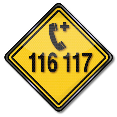 gp: Exit sign with emergency call 116 117 for medical assistance Illustration