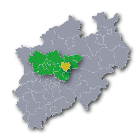 Map NRW Ruhr area and the city of Dortmund
