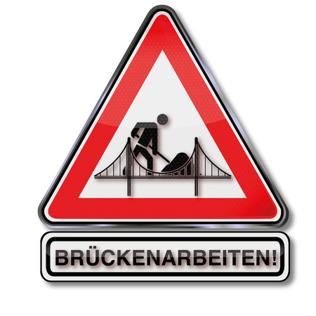 Traffic sign bridge works Illustration
