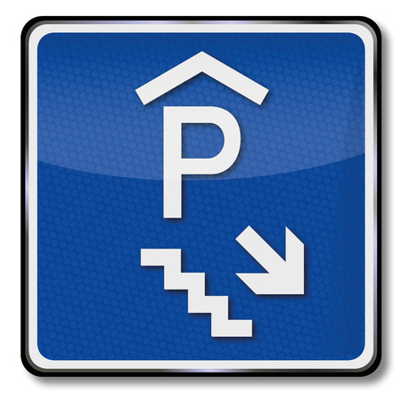 parking garage: Road sign parking garage in the basement Illustration