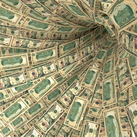 debt trap: Money swirl of 10 dollar bills Stock Photo