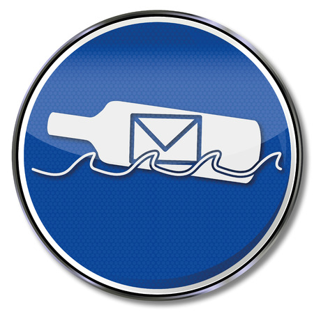 undesirable: Sign with bottle mail