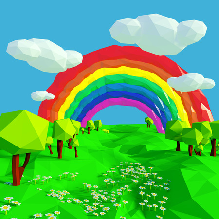 fortunately: Small landscape with rainbow