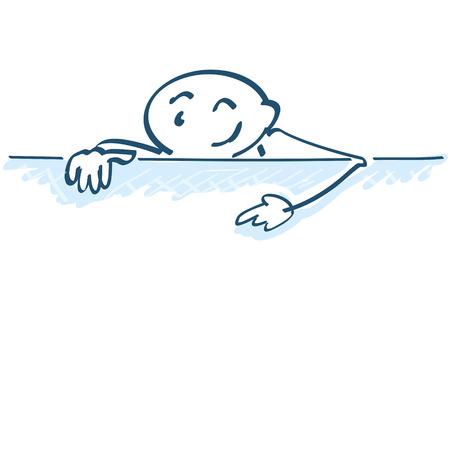 short message service: Stick figure shows poster below Illustration