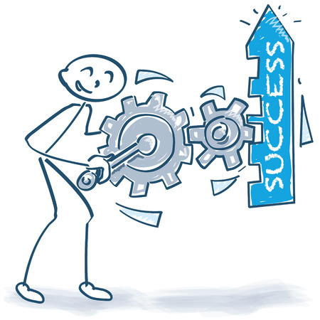 Stick figure with Boost the success with gears