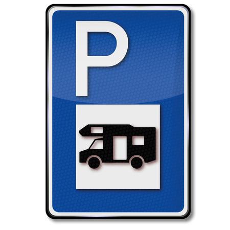 Parking for rv and caravan Ilustrace