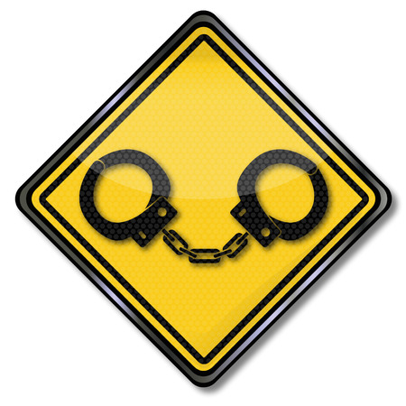 delinquency: Sign with two ordinary handcuffs Illustration