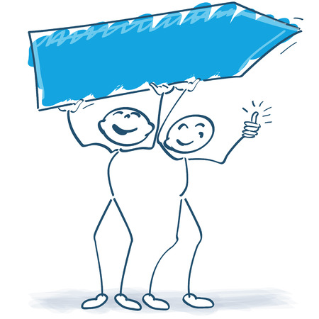 Two stick figures with a sign