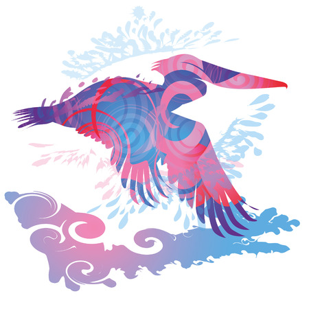 fortunately: Flying pelican Illustration