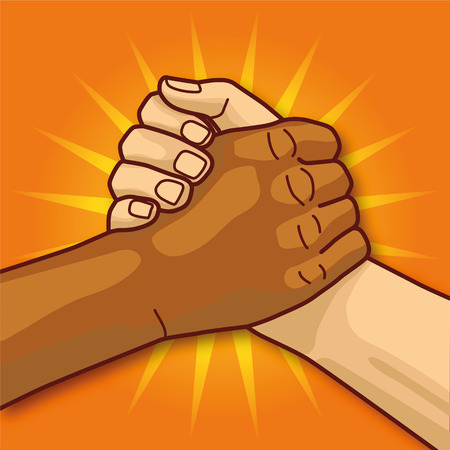 three hands: Hands in handshakes and and community Illustration