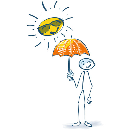 Stick figure with parasol in the sun