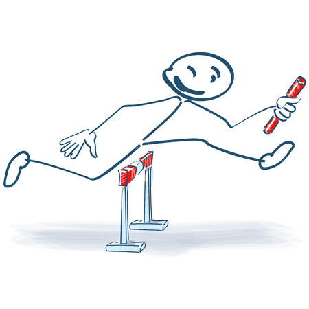 relay: Stick figure as relay runners Illustration