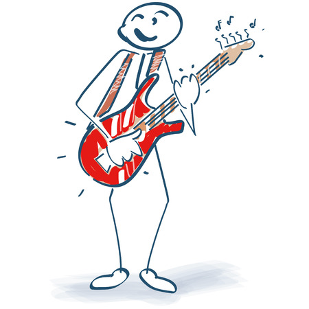 Stick figure with guitar Иллюстрация