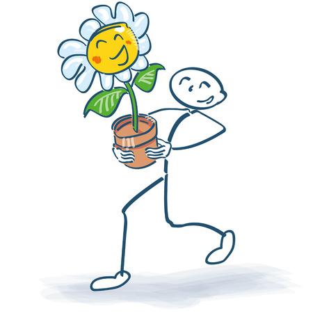 Stick figure with a flower in flowerpot 일러스트