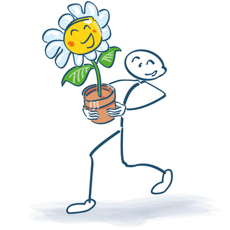 fortunately: Stick figure with a flower in flowerpot Illustration