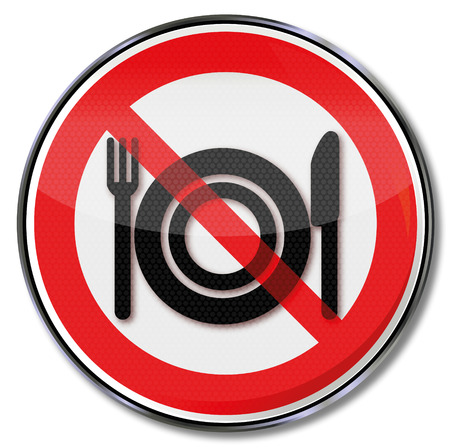 Prohibition sign for food at the workplace Vector