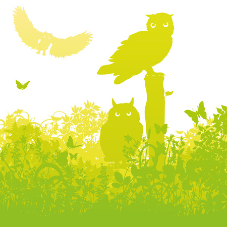 fortunately: Three owls in the garden Illustration