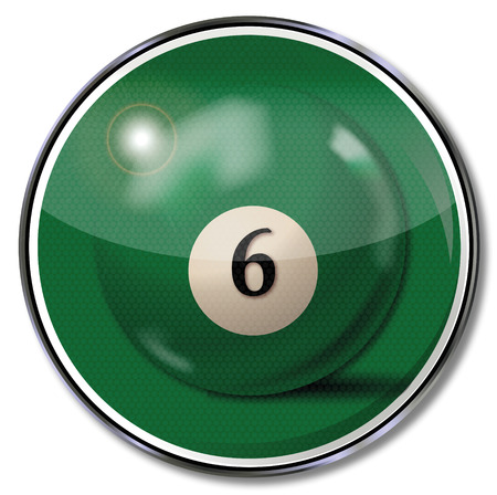 fortunately: Sign green pool billiard ball number 6