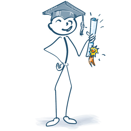 vocational training: Stick figure with graduation and finally on target