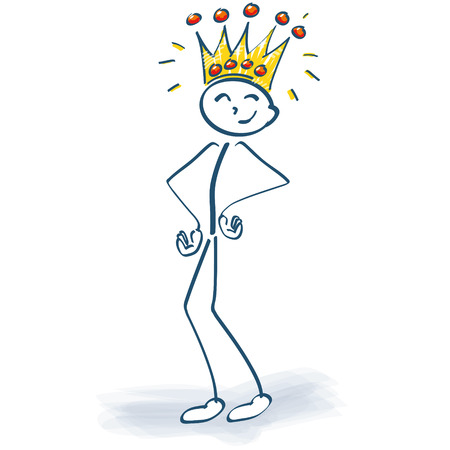 Stick figure with crown and the customer is king Vectores