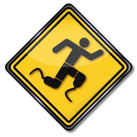 Sign man with prosthetic legs during exercise