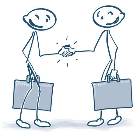 dandose la mano: Figuras del palillo con las maletas al estrechar la mano Vectores