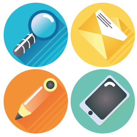 internet buttons: Four internet buttons: magnifying glass, letter, pen and tablet Illustration