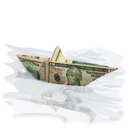 paper boat: Paper boat made from a 10 dollar bill