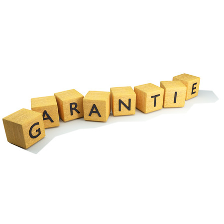 Cubes with guarantee word photo