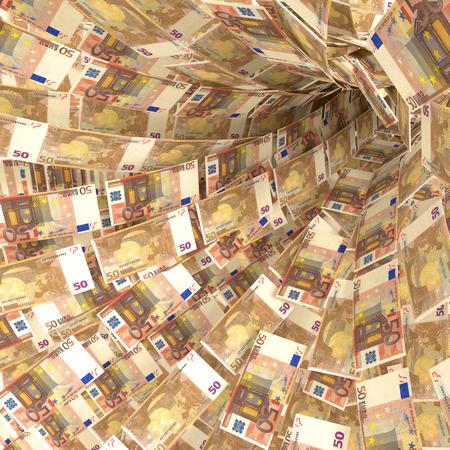billets euros: vortex d'argent de 50 billets en euros Banque d'images