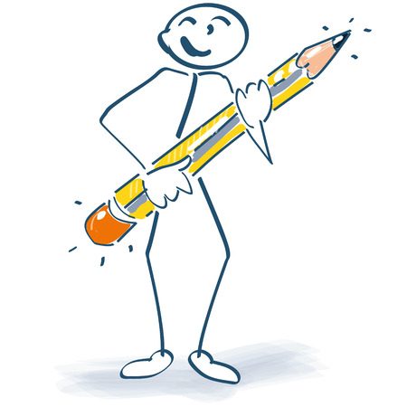 illustration  of Stick figure with a pen