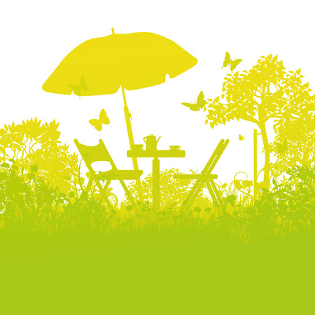 garden chair: Two garden chairs with umbrella in the orchard Illustration