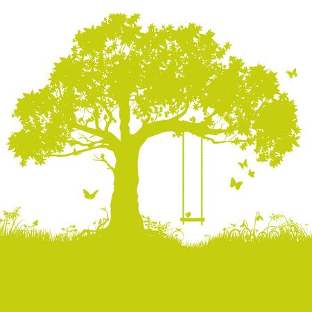 Schommeling in boom en jeugdherinnering