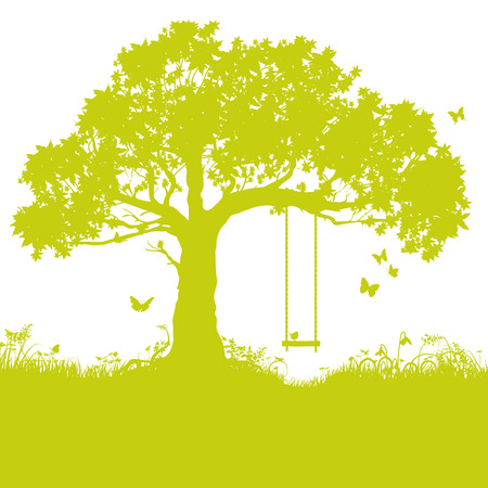 green hills: Swing in tree and childhood memory Illustration