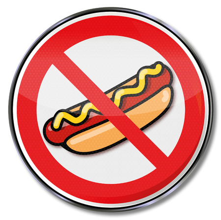 hotdogs: Prohibition sign for hot dogs with sausage and mustard