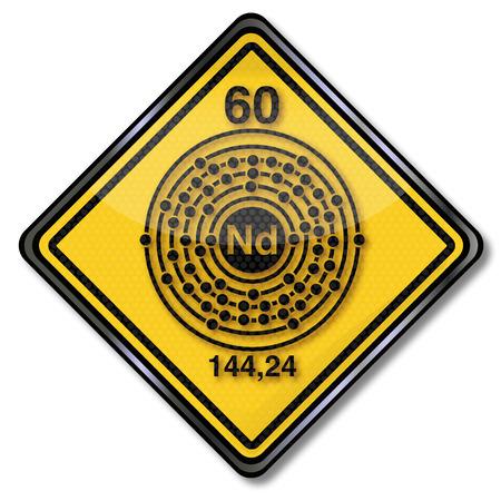 enlaces quimicos: Escudo Qu�mica y caracteres qu�micos de neodimio