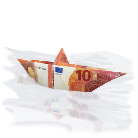 paper boat: Little paper boat with new 10 euros