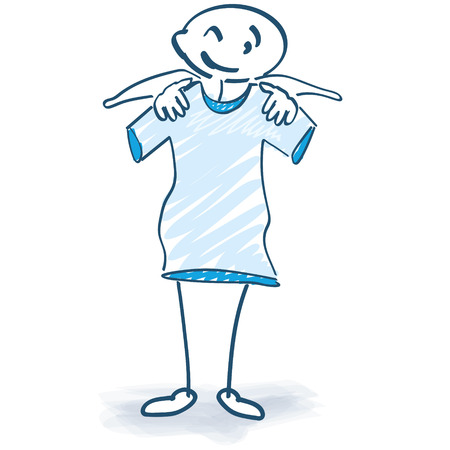 positive note: Stick figure with TShirt Illustration