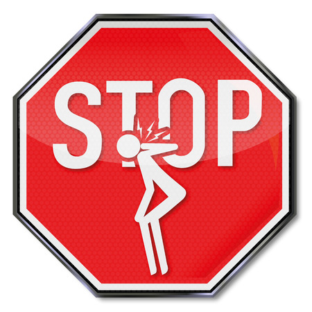 cramping: Stop sign for neck pain Illustration